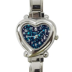 Digitally Created Snowflake Pattern Background Heart Italian Charm Watch by Nexatart