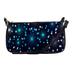 Digitally Created Snowflake Pattern Background Shoulder Clutch Bags by Nexatart