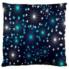 Digitally Created Snowflake Pattern Background Large Flano Cushion Case (one Side) by Nexatart