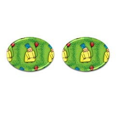 Party Kid A Completely Seamless Tile Able Design Cufflinks (oval) by Nexatart