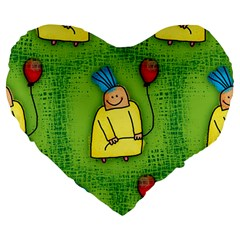 Party Kid A Completely Seamless Tile Able Design Large 19  Premium Heart Shape Cushions by Nexatart