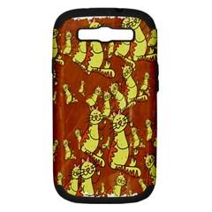 Cartoon Grunge Cat Wallpaper Background Samsung Galaxy S Iii Hardshell Case (pc+silicone) by Nexatart