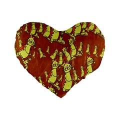 Cartoon Grunge Cat Wallpaper Background Standard 16  Premium Heart Shape Cushions by Nexatart