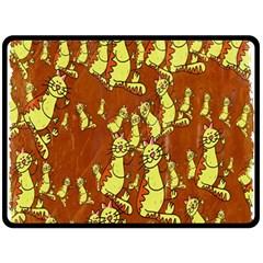 Cartoon Grunge Cat Wallpaper Background Double Sided Fleece Blanket (large)  by Nexatart