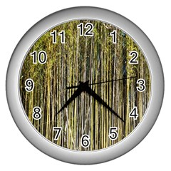 Bamboo Trees Background Wall Clocks (silver)  by Nexatart