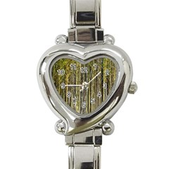 Bamboo Trees Background Heart Italian Charm Watch by Nexatart