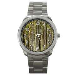 Bamboo Trees Background Sport Metal Watch by Nexatart