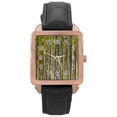 Bamboo Trees Background Rose Gold Leather Watch  by Nexatart