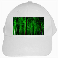 Spooky Forest With Illuminated Trees White Cap by Nexatart