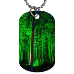 Spooky Forest With Illuminated Trees Dog Tag (One Side)