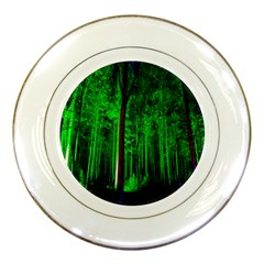 Spooky Forest With Illuminated Trees Porcelain Plates by Nexatart