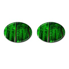 Spooky Forest With Illuminated Trees Cufflinks (oval) by Nexatart