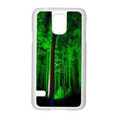 Spooky Forest With Illuminated Trees Samsung Galaxy S5 Case (white) by Nexatart