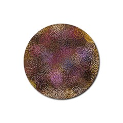 2000 Spirals Many Colorful Spirals Rubber Coaster (round)  by Nexatart