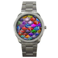 Fun Balls Pattern Colorful And Ornamental Balls Pattern Background Sport Metal Watch by Nexatart