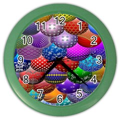 Fun Balls Pattern Colorful And Ornamental Balls Pattern Background Color Wall Clocks by Nexatart