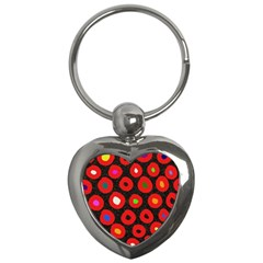 Polka Dot Texture Digitally Created Abstract Polka Dot Design Key Chains (heart)  by Nexatart