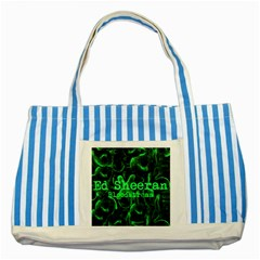 Bloodstream Single Ed Sheeran Striped Blue Tote Bag by Onesevenart