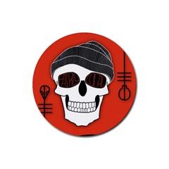 Poster Twenty One Pilots Skull Rubber Round Coaster (4 Pack)  by Onesevenart