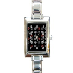 Digital Art Dark Pattern Abstract Orange Black White Twenty One Pilots Rectangle Italian Charm Watch by Onesevenart