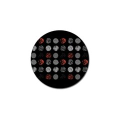 Digital Art Dark Pattern Abstract Orange Black White Twenty One Pilots Golf Ball Marker by Onesevenart