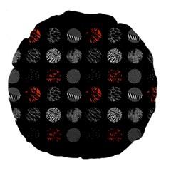 Digital Art Dark Pattern Abstract Orange Black White Twenty One Pilots Large 18  Premium Round Cushions by Onesevenart