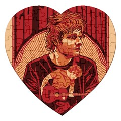 Ed Sheeran Illustrated Tour Poster Jigsaw Puzzle (Heart) by Onesevenart