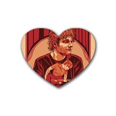 Ed Sheeran Illustrated Tour Poster Rubber Coaster (heart)  by Onesevenart