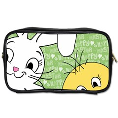 Easter Bunny And Chick  Toiletries Bags 2 Side by Valentinaart