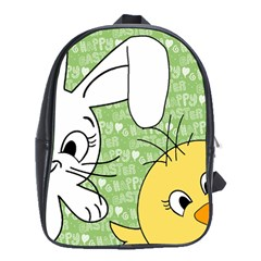 Easter Bunny And Chick  School Bags (xl)  by Valentinaart