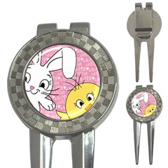 Easter Bunny And Chick  3 In 1 Golf Divots by Valentinaart