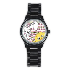 Easter Bunny And Chick  Stainless Steel Round Watch by Valentinaart