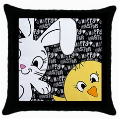 Easter Bunny And Chick  Throw Pillow Case (black) by Valentinaart