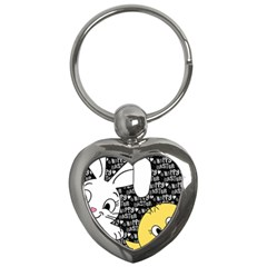 Easter Bunny And Chick  Key Chains (heart)  by Valentinaart
