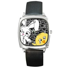 Easter Bunny And Chick  Square Metal Watch by Valentinaart