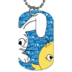 Easter Bunny And Chick  Dog Tag (one Side) by Valentinaart
