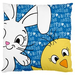 Easter Bunny And Chick  Large Cushion Case (two Sides) by Valentinaart