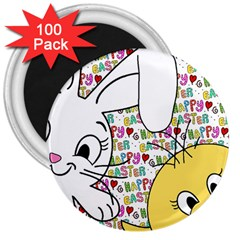 Easter Bunny And Chick  3  Magnets (100 Pack) by Valentinaart