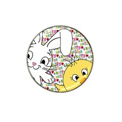 Easter Bunny And Chick  Hat Clip Ball Marker by Valentinaart