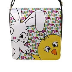 Easter Bunny And Chick  Flap Messenger Bag (l)  by Valentinaart