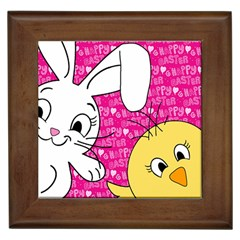 Easter Bunny And Chick  Framed Tiles by Valentinaart