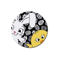 Easter Bunny And Chick  Rubber Round Coaster (4 Pack)  by Valentinaart