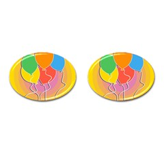 Birthday Party Balloons Colourful Cartoon Illustration Of A Bunch Of Party Balloon Cufflinks (oval) by Nexatart
