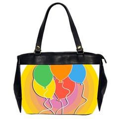 Birthday Party Balloons Colourful Cartoon Illustration Of A Bunch Of Party Balloon Office Handbags (2 Sides)  by Nexatart