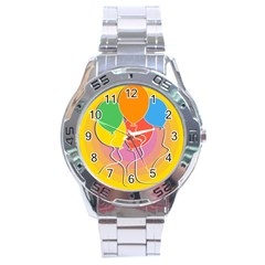 Birthday Party Balloons Colourful Cartoon Illustration Of A Bunch Of Party Balloon Stainless Steel Analogue Watch by Nexatart