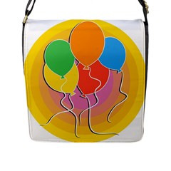 Birthday Party Balloons Colourful Cartoon Illustration Of A Bunch Of Party Balloon Flap Messenger Bag (l)  by Nexatart