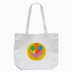 Birthday Party Balloons Colourful Cartoon Illustration Of A Bunch Of Party Balloon Tote Bag (white) by Nexatart