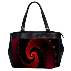 Red Fractal Spiral Office Handbags (2 Sides)  by Nexatart