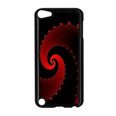 Red Fractal Spiral Apple Ipod Touch 5 Case (black) by Nexatart