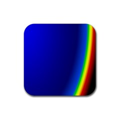 Blue Wallpaper With Rainbow Rubber Square Coaster (4 Pack)  by Nexatart